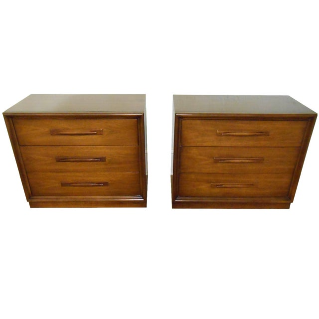 Mid Century Modern Walnut Bachelors Chests - Pair - Image 1 of 10