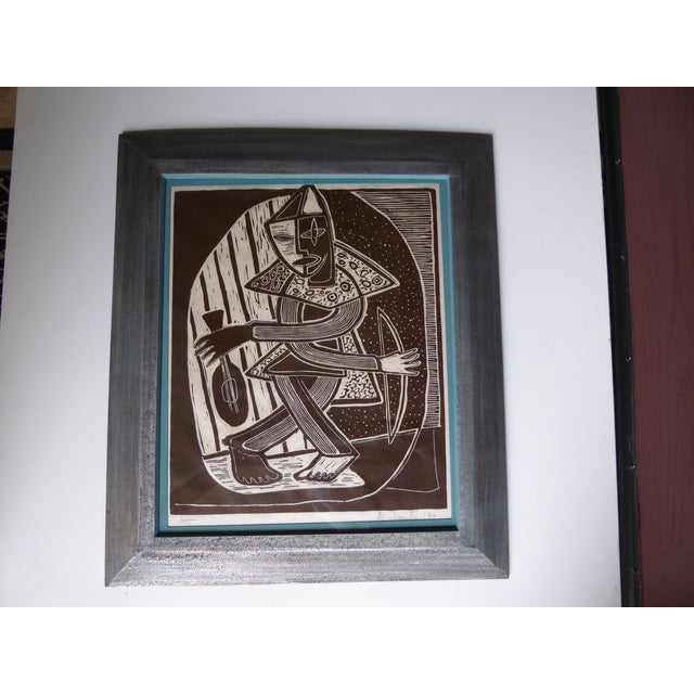 Original Mid Century Cubist Woodblock - Image 2 of 7