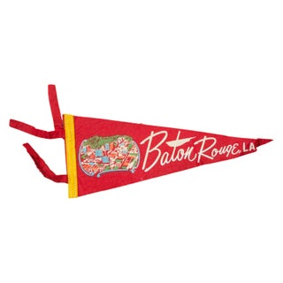 Vintage Baton Rouge LA Felt Flag Banner