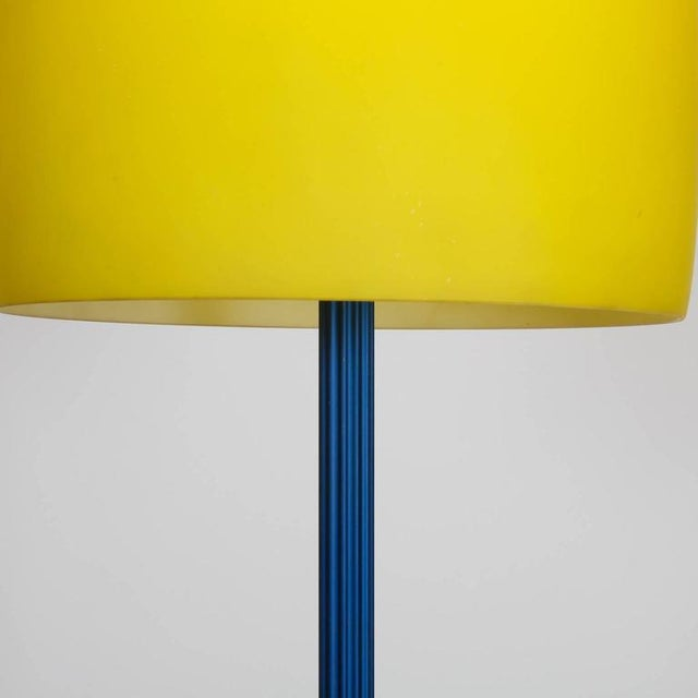 Blue and Yellow Memphis Floor Lamp with Glass Shade - Image 4 of 7