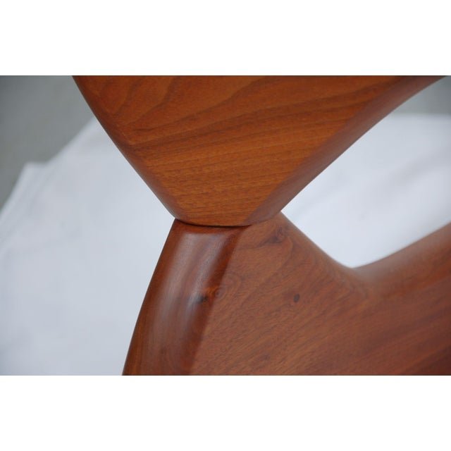 Noguchi Style Walnut & Glass Coffee Table - Image 5 of 7
