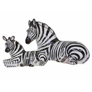 Italian Terracotta Resting Zebras - Pair