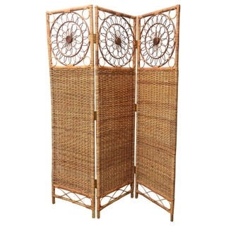 Vintage Three-Panel Rush Bamboo Screen