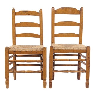 Antique Shaker-Style Elm Chairs - A Pair