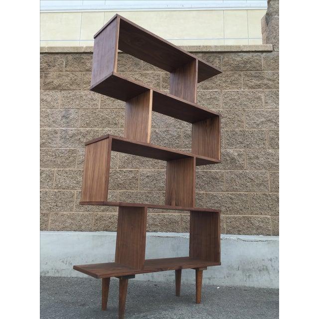 Custom Mid-Century Walnut Book Case Wall Unit - Image 2 of 4