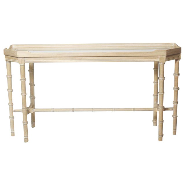 Faux Bamboo Console With Beveled Glass Top - Image 1 of 5