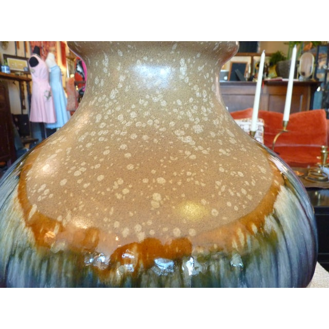 Blue and Tan Drip Glaze Table Lamp - Image 5 of 8