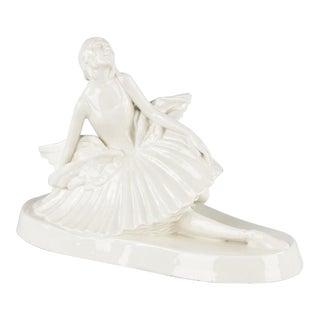 Signed French Ceramic Figurine of Ballerina Anna Pavlova, 1930s