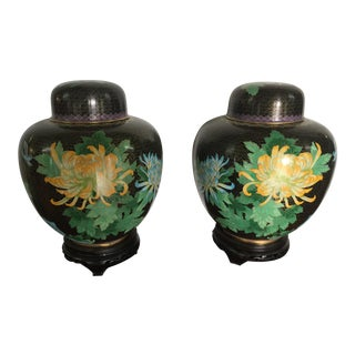 Chinese Cloisonne Ginger Jars - A Pair