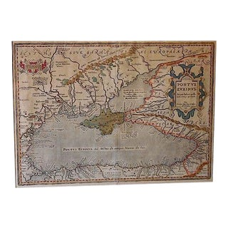"Circa 1590 Antique Map ""Pontus Euxinus (The Black Sea)"""