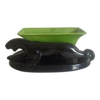 Vintage Mid-Century Modern Black Panther Chartreuse Ceramic Planter