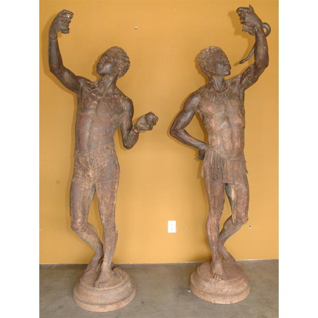 Life Size Exceptional and Rare Pair of Cast Iron Blackamoors - Image 2 of 9