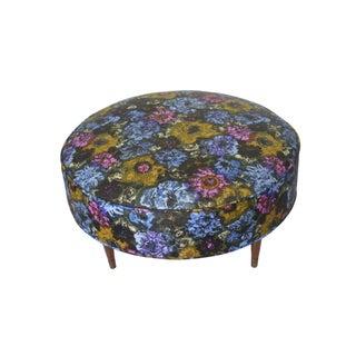Round Floral Print Mid-Century Ottoman