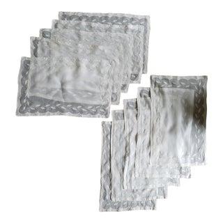 Vintage Ecru & White Linen Napkins - Set of 10