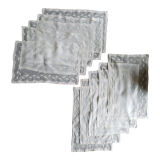 Vintage Ecru & White Linen Napkins - Set of 10