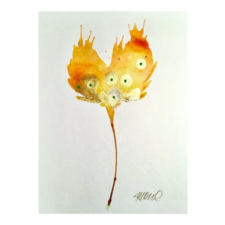 Metallic Golden Poppy Watercolor Painting