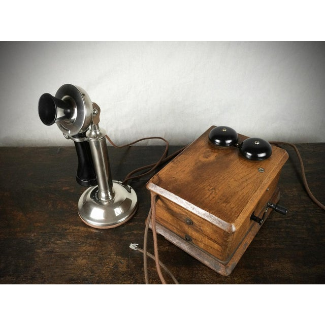 Image of Antique 1910s Nickel Plated Candlestick Telephone