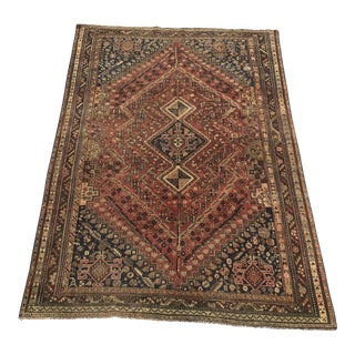 90-Year-Old Thick Vintage Persian Shiraz Area Rug - 7' x 9'9""