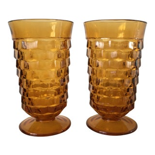 Vintage Amber Glass Tumblers - a Pair