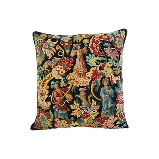 Large 19th-C. French Needlepoint Feather/Down Pillow