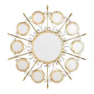 Gilded Metal Sunburst Mirror, Spain 1950s