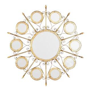 Gilded Metal Sunburst Mirror, Spain 1950s