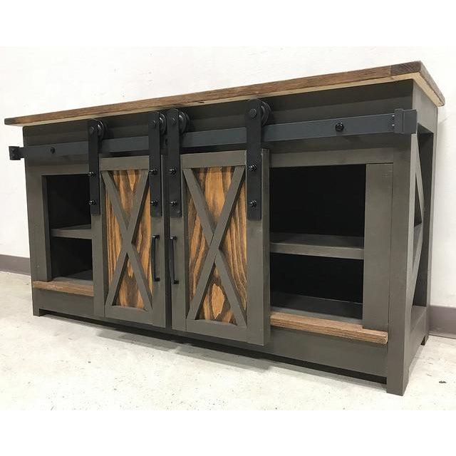 Sliding Door Farmhouse Table: Farmhouse Sliding Door Credenza Media Cabinet