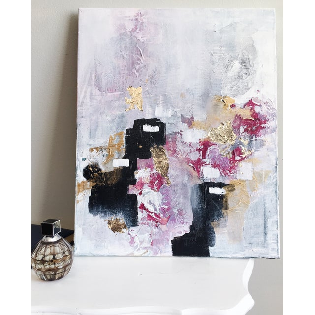 'Blush' Acrylic & Gold Leaf Abstract Painting - Image 2 of 2