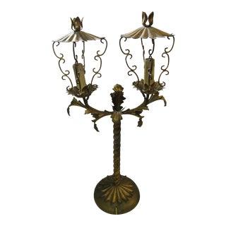 Vintage Italian Tole Lamp with 2 Light