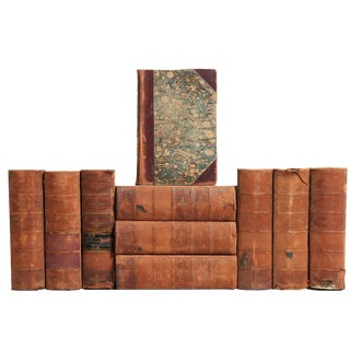 Distressed Leather Dickens Books - Set of 10