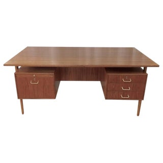 Teak & Oak Floating Top Executive Desk
