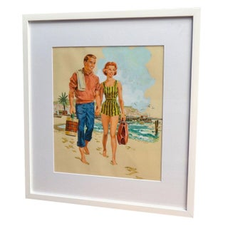 Hap Fraser Happy Couple Gouache Illustration