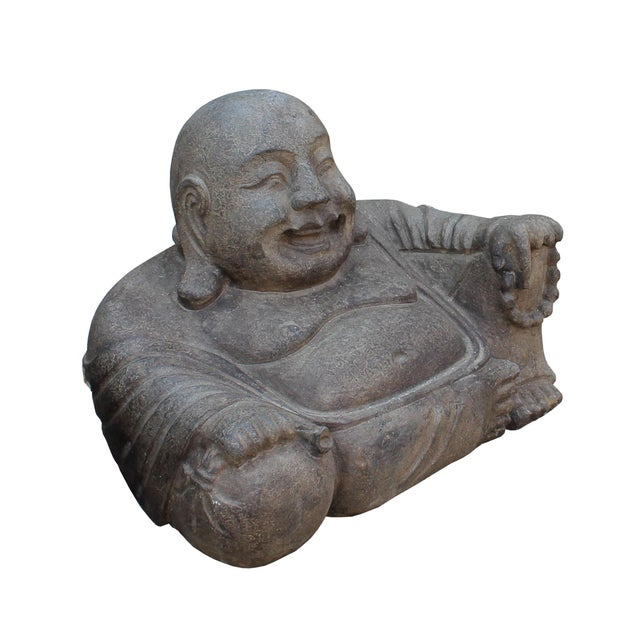 Chinese Gray Stone Carved Small Sitting Happy Laughing Buddha Statue - Image 2 of 5