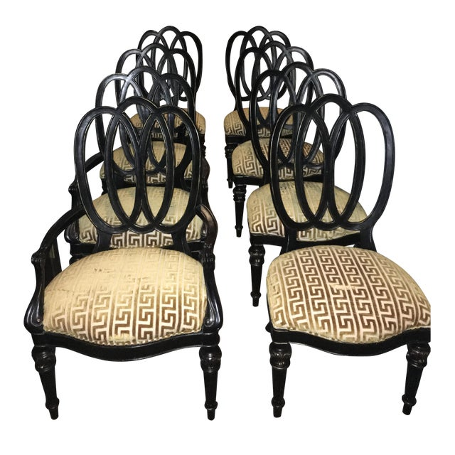 black wood gold upholstered dining chairs s 8 chairish. Black Bedroom Furniture Sets. Home Design Ideas