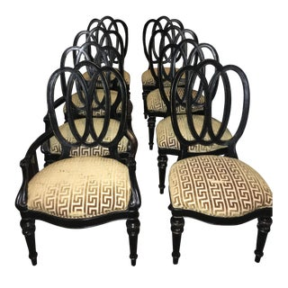 Black Wood & Gold Upholstered Dining Chairs - S/8