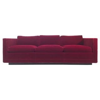 Milo Baughman Style Red Velvet Sofa