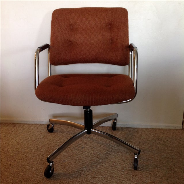 Vintage Orange Tweed Steelcase Office Chair - Image 2 of 9