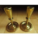 Image of Mid-Century Modern Brass Candle Holders - A Pair