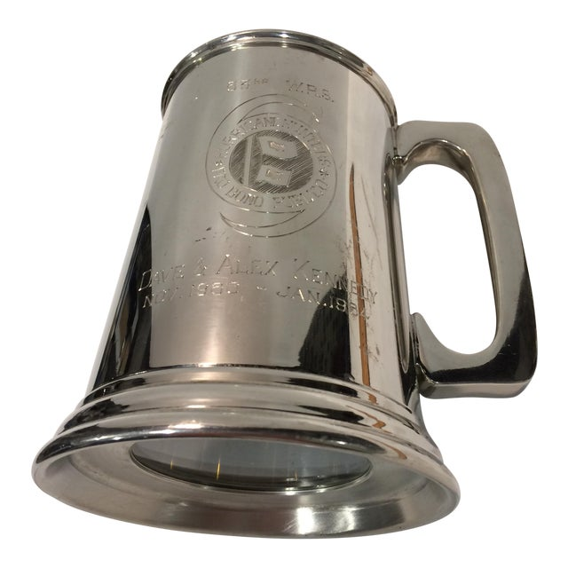 "Image of Vintage Pewter ""53RD"" W.R.S. Hurricane Hunter Beer Stein"