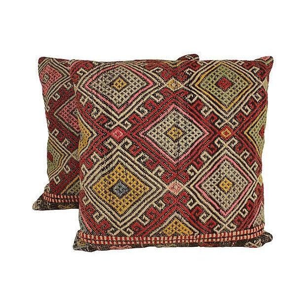 Vintage Turkish Kilim Floor Pillows - A Pair - Image 1 of 6