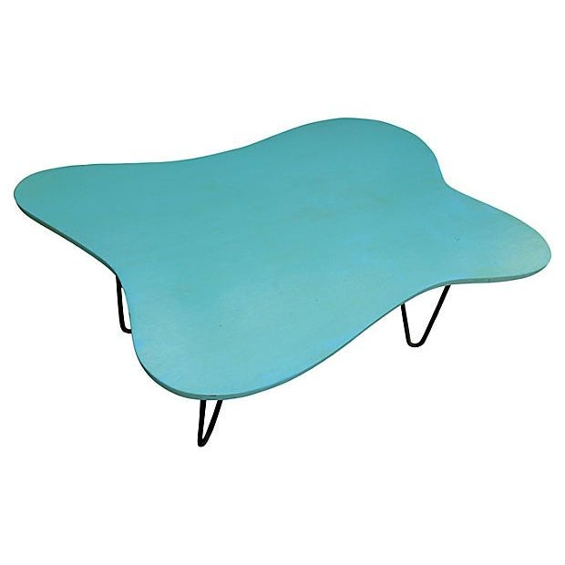 Mid-Century Turquoise Hairpin Coffee Table - Image 4 of 5