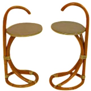 Tiki Bamboo Rattan Side Table - A Pair