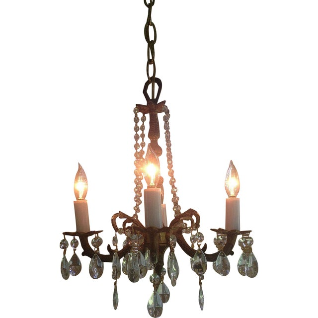 Petite Brass and Crystal 4 Light Chandelier - Image 1 of 7