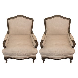 Restoration Hardware Belgian Linen & Wood Marseille Chairs - A Pair