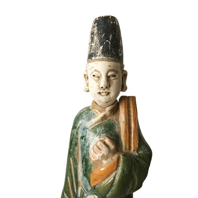 Chinese Ming Dynasty Glazed Pottery Tomb Figures - A Pair - Image 4 of 6