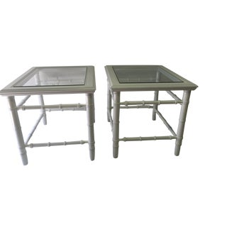 Lacquered Faux Bamboo Side Tables - A Pair