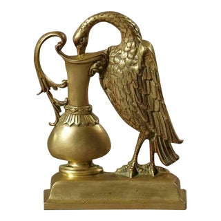 Rare 19th Century Brass Door Stop, Ho Ho Bird Drinking from a Goblet