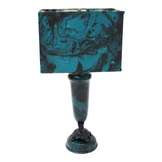 Transitional Marble Blue Table Lamp