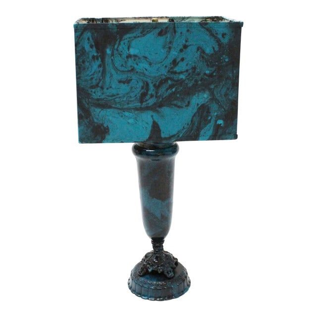Image of Transitional Marble Blue Table Lamp