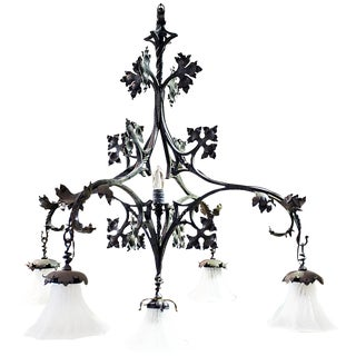 French Wrought Iron Chandelier by F. Marrou